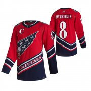 Wholesale Cheap Washington Capitals #8 Alexander Ovechkin Red Men's Adidas 2020-21 Reverse Retro Alternate NHL Jersey