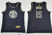 Wholesale Cheap Nuggets 15 Nikola Jokic Black Gold Nike Swingman Jersey