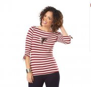 Wholesale Cheap Atlanta Falcons Lady Striped Boatneck Three-Quarter Sleeve T-Shirt