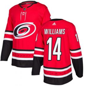 Wholesale Cheap Adidas Hurricanes #14 Justin Williams Red Home Authentic Stitched Youth NHL Jersey