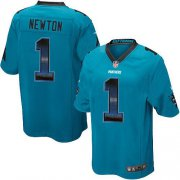 Wholesale Cheap Nike Panthers #1 Cam Newton Blue Alternate Men's Stitched NFL Limited Strobe Jersey