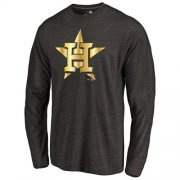 Wholesale Cheap Houston Astros Gold Collection Long Sleeve Tri-Blend T-Shirt Black