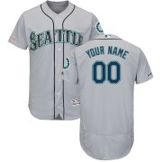 Wholesale Cheap Seattle Mariners Majestic Road Flex Base Authentic Collection Custom Jersey Gray