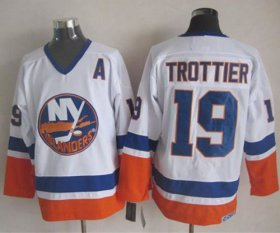 Wholesale Cheap Islanders #19 Bryan Trottier White CCM Throwback Stitched NHL Jersey