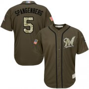 Wholesale Cheap Brewers #5 Cory Spangenberg Green Salute to Service Stitched MLB Jersey