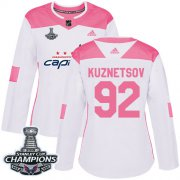Wholesale Cheap Adidas Capitals #92 Evgeny Kuznetsov White/Pink Authentic Fashion Stanley Cup Final Champions Women's Stitched NHL Jersey