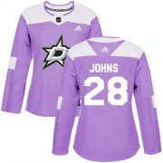 Cheap Adidas Stars #28 Stephen Johns Purple Authentic Fights Cancer Women's Stitched NHL Jersey