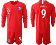 Wholesale Cheap Chile #9 Pinilla Home Long Sleeves Soccer Country Jersey