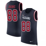 Wholesale Cheap Nike Texans #88 Jordan Akins Navy Blue Team Color Men's Stitched NFL Limited Rush Tank Top Jersey