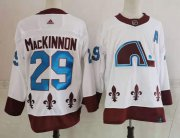 Wholesale Cheap Men's Colorado Avalanche #29 Nathan MacKinnon White 2021 Retro Stitched NHL Jersey