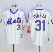 Wholesale Cheap Mitchell And Ness Mets #31 Mike Piazza White(Blue Strip) Throwback Stitched MLB Jersey