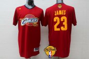 Wholesale Cheap Men's Cleveland Cavaliers #23 LeBron James 2017 The NBA Finals Patch Red Short-Sleeved Jersey