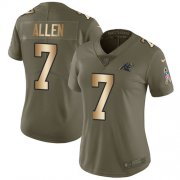 Wholesale Cheap Nike Panthers #7 Kyle Allen Olive/Gold Women's Stitched NFL Limited 2017 Salute to Service Jersey
