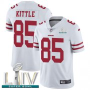 Wholesale Cheap Nike 49ers #85 George Kittle White Super Bowl LIV 2020 Youth Stitched NFL Vapor Untouchable Limited Jersey