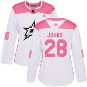 Cheap Adidas Stars #28 Stephen Johns White/Pink Authentic Fashion Women's Stitched NHL Jersey