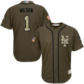 Wholesale Mets #1 Mookie Wilson Green Salute to Service Stitched Youth Baseball Jersey