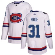 Wholesale Cheap Adidas Canadiens #31 Carey Price White Authentic 2017 100 Classic Stitched NHL Jersey