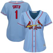 Wholesale Cheap Cardinals #1 Ozzie Smith Light Blue Alternate Women's Stitched MLB Jersey