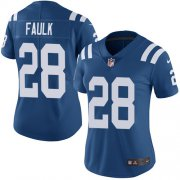 Wholesale Cheap Nike Colts #28 Marshall Faulk Royal Blue Team Color Women's Stitched NFL Vapor Untouchable Limited Jersey