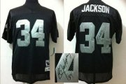 Wholesale Cheap Mitchell And Ness Autographed Raiders #34 Bo Jackson Black Stitched Throwback NFL Jersey