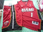 Wholesale Cheap Miami Heat 1 Bosh red swingman Basketball Suit