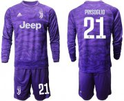 Wholesale Cheap Juventus #21 Pinsoglio Purple Goalkeeper Long Sleeves Soccer Club Jersey