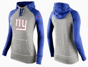 Wholesale Cheap Women's Nike New York Giants Performance Hoodie Grey & Blue_2