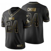 Wholesale Cheap Cleveland Browns #24 Nick Chubb Men's Nike Black Golden Limited NFL 100 Jersey