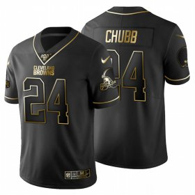 Wholesale Cheap Cleveland Browns #24 Nick Chubb Men\'s Nike Black Golden Limited NFL 100 Jersey