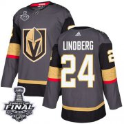 Wholesale Cheap Adidas Golden Knights #24 Oscar Lindberg Grey Home Authentic 2018 Stanley Cup Final Stitched Youth NHL Jersey