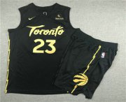 Wholesale Cheap Men's Toronto Raptors #23 Fred VanVleet Black 2020 Nike City Edition Swingman Jersey With Shorts