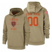Wholesale Cheap Chicago Bears Custom Nike Tan 2019 Salute To Service Name & Number Sideline Therma Pullover Hoodie