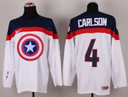 Wholesale Cheap Olympic Team USA #4 John Carlson White Captain America Fashion Stitched NHL Jersey