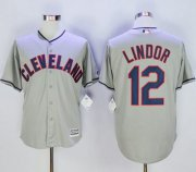 Wholesale Cheap Indians #12 Francisco Lindor Grey New Cool Base Stitched MLB Jersey