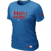 Wholesale Cheap Women's Los Angeles Angels Nike Short Sleeve Practice MLB T-Shirt Indigo Blue