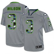 Wholesale Cheap Nike Seahawks #3 Russell Wilson New Lights Out Grey Men's Stitched NFL Elite Jersey