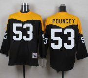 Wholesale Cheap Mitchell And Ness 1967 Steelers #53 Maurkice Pouncey Black/Yelllow Throwback Men's Stitched NFL Jersey