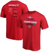 Wholesale Cheap Washington Nationals Majestic 2019 National League Champions Bloop Single Roster T-Shirt Red