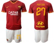 Wholesale Cheap Roma #27 Pastore Red Home Soccer Club Jersey
