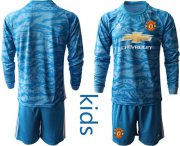 Wholesale Cheap Manchester United Blank Light Blue Goalkeeper Long Sleeves Kid Soccer Club Jersey