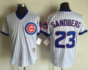 Wholesale Cheap Mitchell And Ness Cubs #23 Ryne Sandberg White(Blue Strip) Throwback Stitched MLB Jersey
