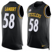 Wholesale Cheap Nike Steelers #58 Jack Lambert Black Team Color Men's Stitched NFL Limited Tank Top Jersey