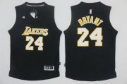 Wholesale Cheap Men's Los Angeles Lakers #24 Kobe Bryant Black With White Stitched NBA Adidas Revolution 30 Swingman Jersey