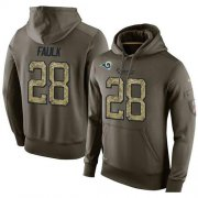 Wholesale Cheap NFL Men's Nike Los Angeles Rams #28 Marshall Faulk Stitched Green Olive Salute To Service KO Performance Hoodie