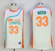 Wholesale Cheap Flint Tropics 33 Jackie Moon White Semi Pro Movie Stitched Basketball Jersey