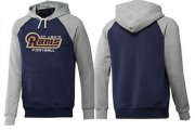 Wholesale Cheap Los Angeles Rams English Version Pullover Hoodie Dark Blue & Grey
