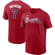 Wholesale Cheap Atlanta Braves #7 Dansby Swanson Nike Name & Number T-Shirt Red
