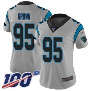 Wholesale Cheap Nike Panthers #95 Derrick Brown Silver Women's Stitched NFL Limited Inverted Legend 100th Season Jersey