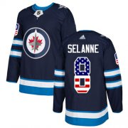 Wholesale Cheap Adidas Jets #8 Teemu Selanne Navy Blue Home Authentic USA Flag Stitched NHL Jersey