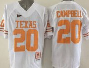Wholesale Cheap Men's Texas Longhorns #20 Earl Campbell White Throwback NCAA Football Jersey